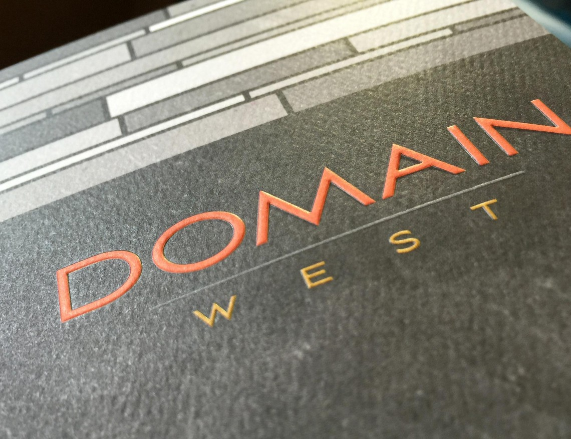 Domain West Luxe Apartments Tri-Fold Pocket Folder Brochure with Reg Emboss