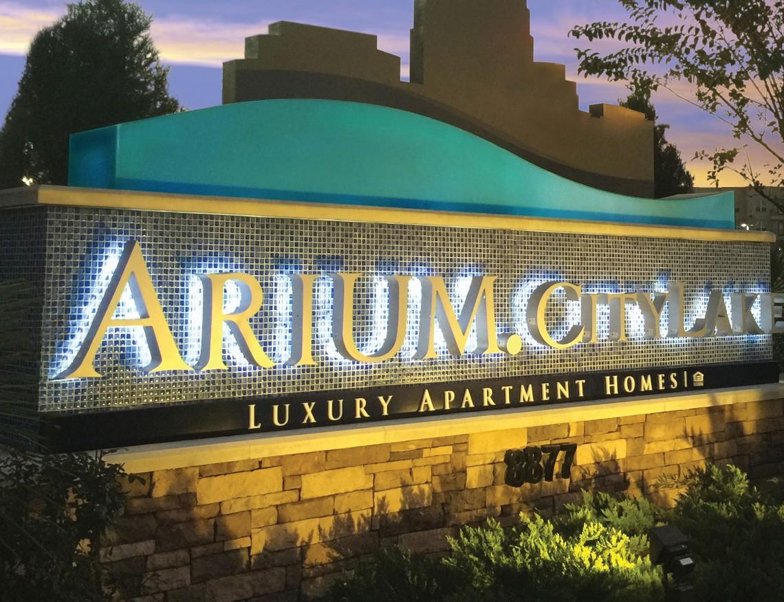 Arium CityLake Luxury Apartment Homes LED Illuminated Monument with Tiles Night