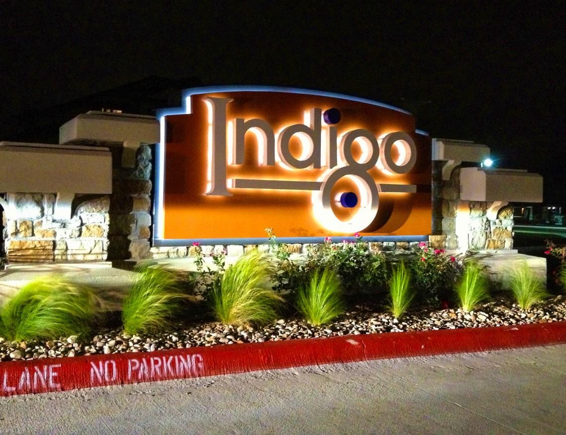 Indigo Apartments LED Illuminated Monument at Night