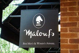 Malouf's Fine Men's and Women's Apparel Store Front Signage