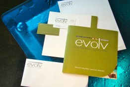 Evolv Management Solutions Collateral Package - Brochure, Business Card, Letterhead and Envelope