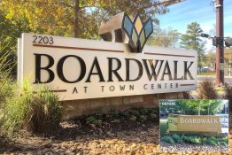 Boardwalk at Town Center Apartments - Contemporary LED Edge-Lit Letters Monument onto Existing Masonry Base