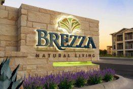 Brezza Natural Living Apartments Unique Design Reverse Channel Lit Letters onto Masonry Monument
