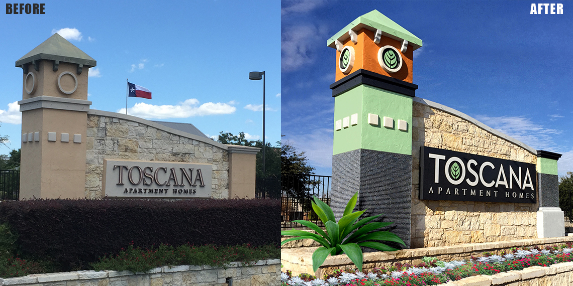 Monument Signage with poor landscaping | Before & After